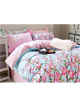 Pastoral Style Pink Flowers Print Blue 4-Piece Cotton Duvet Cover Sets