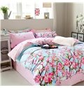 Pastoral Style Pink Flowers Print Blue 4-Piece Cotton Duvet Cover Sets