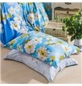 Attractive White Flowers Print Blue 4-Piece Cotton Duvet Cover Sets