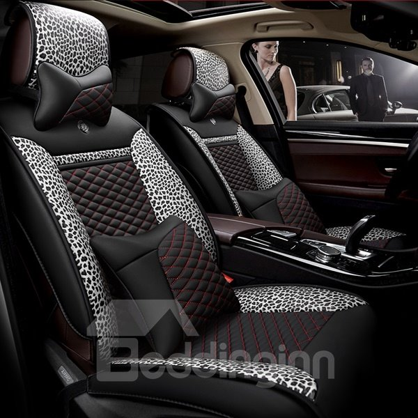 Leopard Series With Classic Checkered Design Universal Car Seat Cover