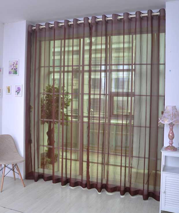 Elegant Comfort Pure Colored Coffee Custom Sheer Curtain