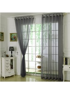 Comfort Pure Colored Gray Custom Sheer Curtain