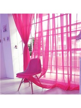 Elegant Pure Colored Rose Red Custom Sheer Curtain