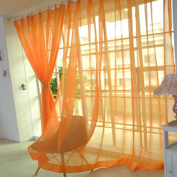 Comfort Pure Colored Orange Custom Sheer Curtain