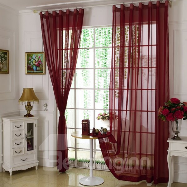 Cost-Effective Pure Colored Burgundy Custom Sheer Curtain
