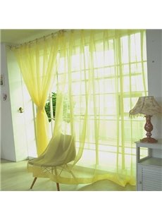 Modern Pure Colored Yellow Custom Sheer Curtain