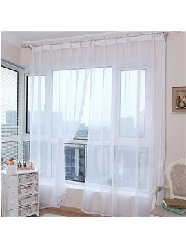 Modern Pure Colored White Custom Sheer Curtain