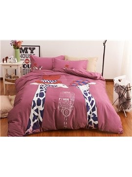 Fashion Lovely Giraffes Print Cotton 4-Piece Bedding Sets