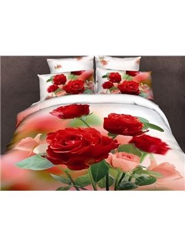 Adorable Roses Print 4-Piece Duvet Cover Sets
