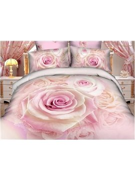 Gorgeous Pink Rose Print Pure Cotton 4-Piece Bedding Sets