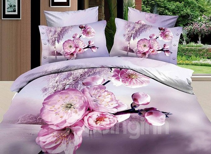 Lovely Pink Peach Blossom Print 4-Piece Bedding Sets