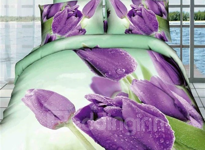 Mysterious Purple Tulips Print 4 Pieces Bedding Sets