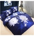 Dreamy White Lotus Print Blue 4-Piece Cotton Duvet Cover Sets