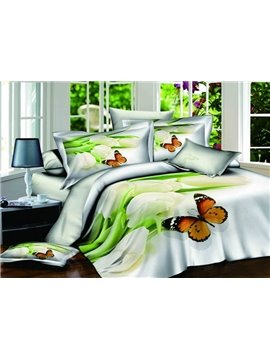 Fresh Style Beautiful Butterfly Print 4 Pieces Bedding Sets