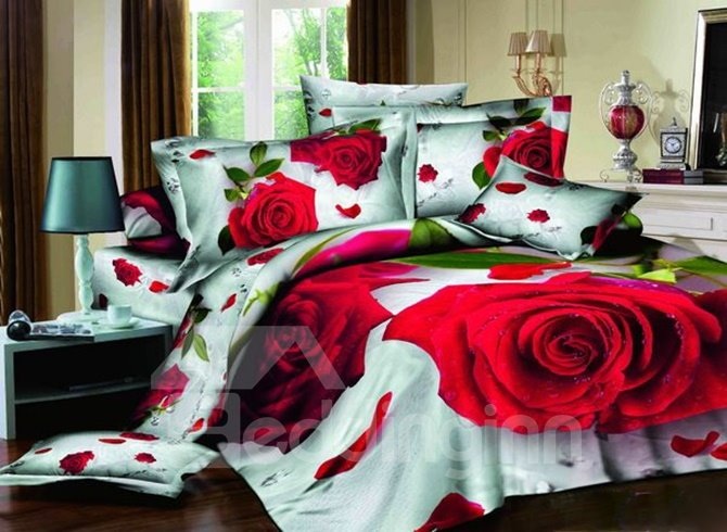 Romantic Red Rose Print 4 Pieces Bedding Sets