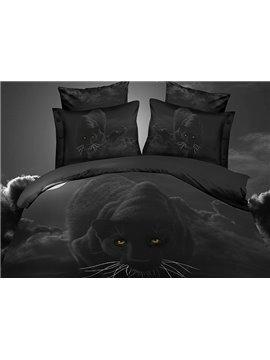 Vigorous Black Leopard Print 4-Piece Polyester 3D Bedding Sets