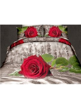 Elegant Red Rose Reactive Printing 4-Piece Polyester 3D Bedding Sets