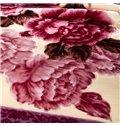 Rural Style Beautiful Peony Print Comfortable Raschel Blanket