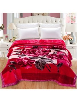 Comfy Charming Blooming Red Peony Raschel Blanket