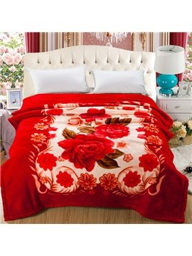 Stylish Sweet Begonia Print Soft Raschel Blanket