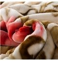 Fresh Style Azalea Print Pink Raschel Blanket
