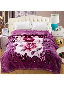 Noble Purple Lovely Peony Print Raschel Blanket