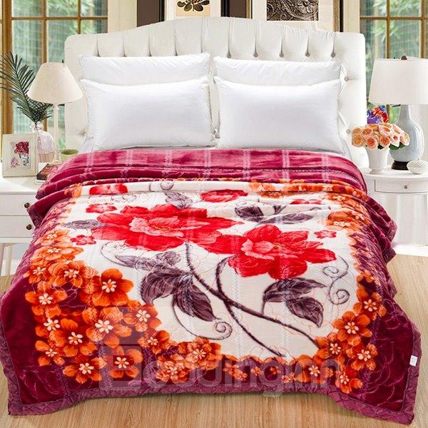 Chic Design Red Magnolia Print Raschel Blanket