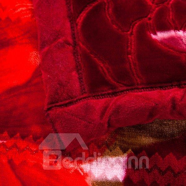 Festive Blooming Red Peony Print Raschel Blanket