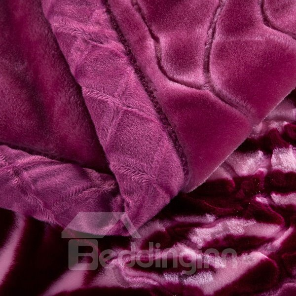 Beautiful Super Soft Flower Print Purple Raschel Blanket
