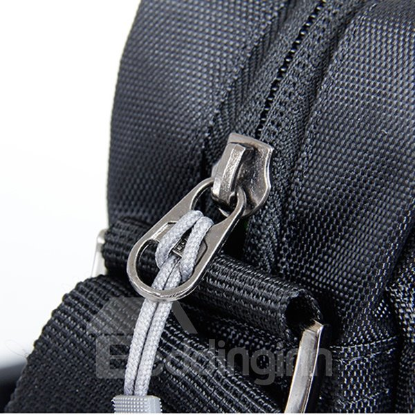Black Zipper Simple Style Outdoor Camping Hiking Traveling Multifunctional Waist Bag Daypack