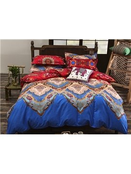 Gorgeous Exotic Pattern Reactive Printing Polyester 4-Piece Duvet Cover Sets