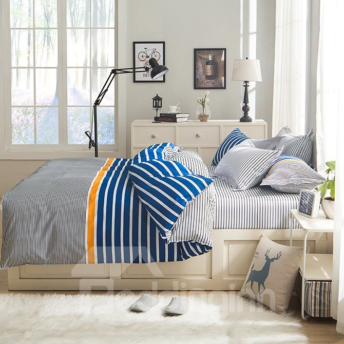 Concise Blue and White Stripe Grey Polyester 4-Piece Duvet Cover Sets