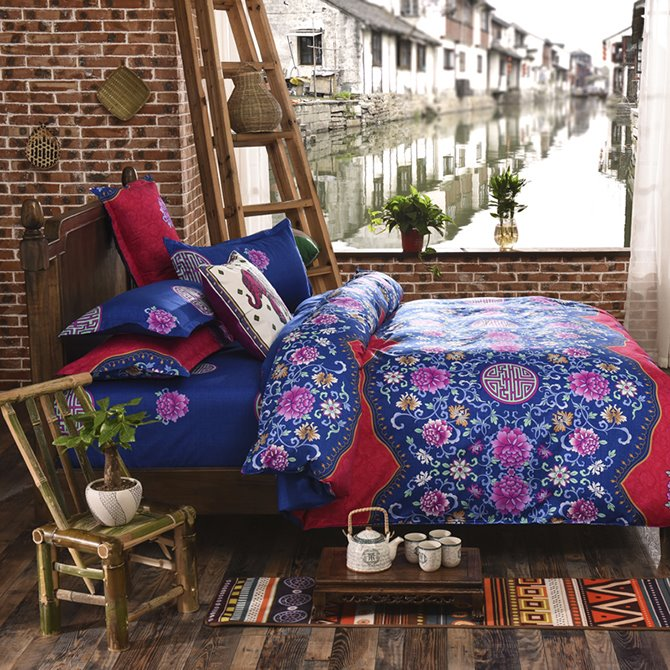 Luxurious Ethnic Pattern Polyester 4-Piece Duvet Cover Sets