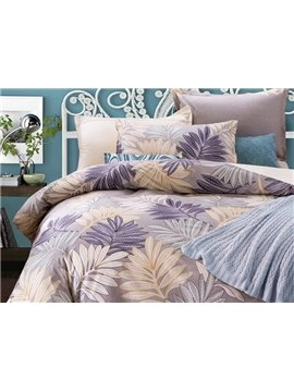 Faddish Leaves Pattern Purple Background 4-Piece Cotton Duvet Cover Sets