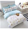 Pastoral Style Leaves and Flowers Print White 4-Piece Cotton Duvet Cover Sets