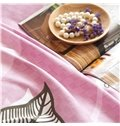 Unique Leaves Pattern Pink Background 4-Piece Cotton Duvet Cover Sets
