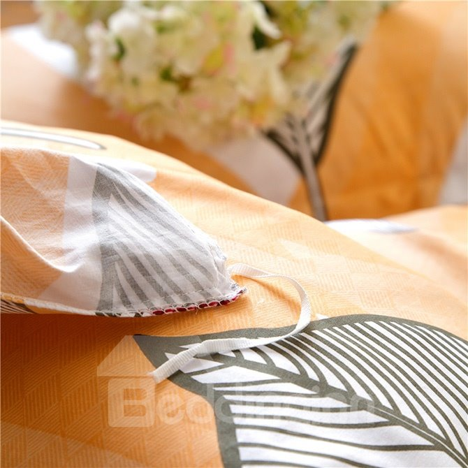 Fantastic Leaves Pattern Yellow Background 4-Piece Cotton Duvet Cover Sets