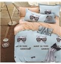 Cat and Sunglasses Pattern Blue Background 4-Piece Cotton Duvet Cover Sets