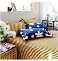 Fresh White Flowers Dark Blue 4-Piece Cotton Duvet Cover Sets