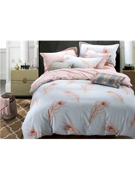 Peacock Feathers Pattern Blue 4-Piece Cotton Duvet Cover Sets