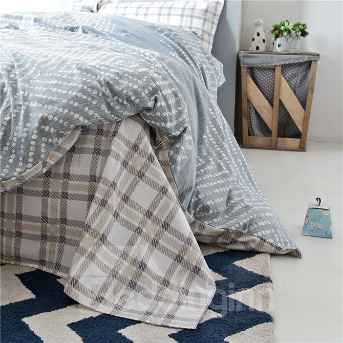 Unique Modern Grey 4-Piece Cotton Duvet Cover Sets