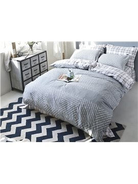 Unique Modern Grey 4-Piece Cotton Duvet Cover Sets