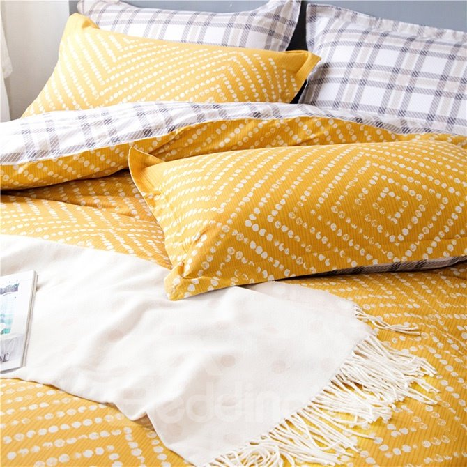 Popular Modern Pattern Print Yellow 4-Piece Cotton Duvet Cover Sets