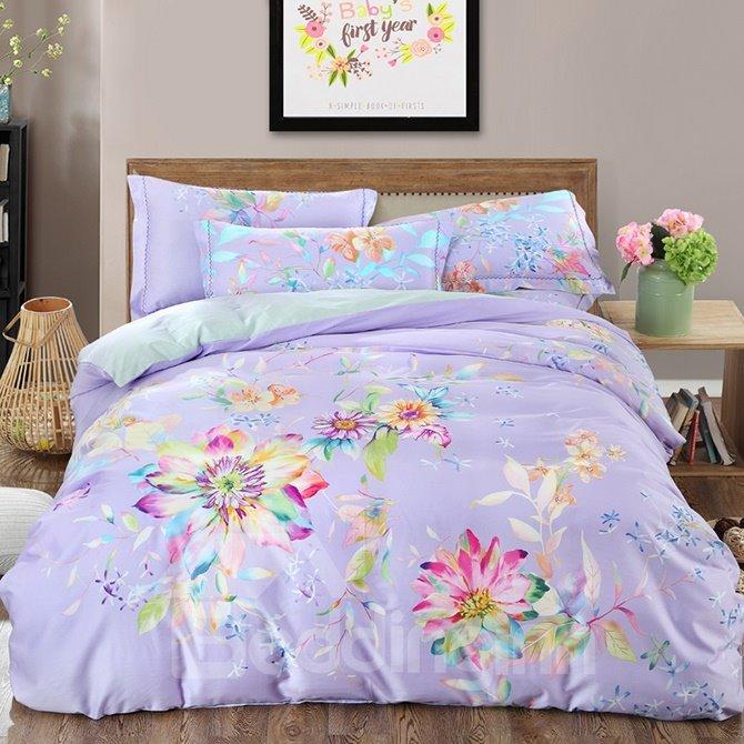 Glamorous Colorful Flowers Print Light Purple 4-Piece Cotton Duvet Cover Sets