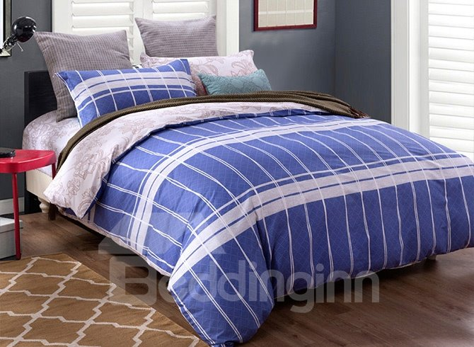 Simple White Stripe Blue Background 4-Piece Cotton Duvet Cover Sets