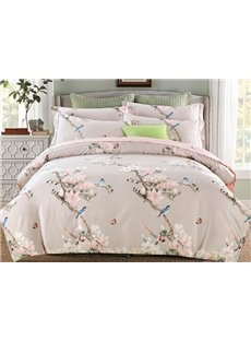 Graceful Pink Flowers and Blue Birds Print 4-Piece Cotton Duvet Cover Sets