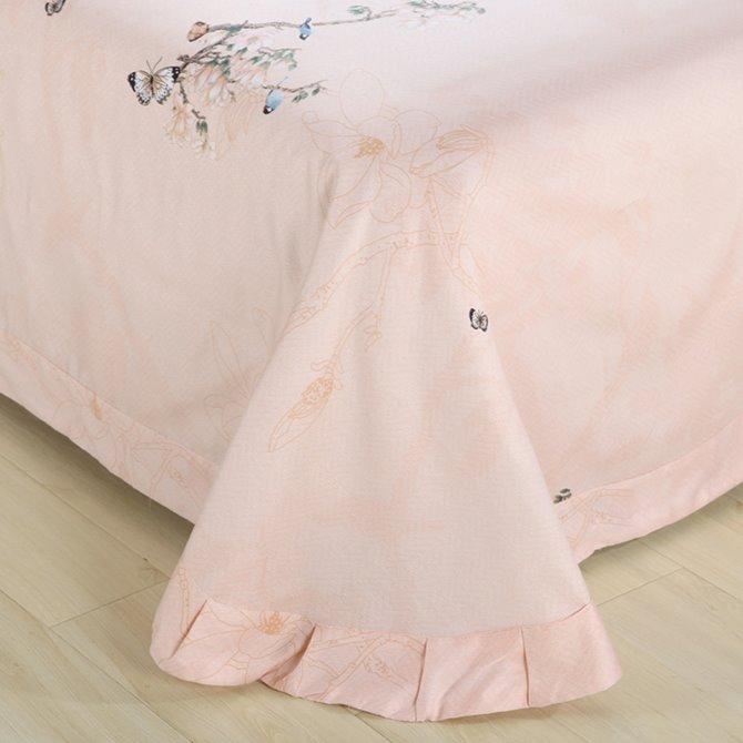 Graceful Pink Flowers and Blue Birds Print 4-Piece Cotton Duvet Cover Sets