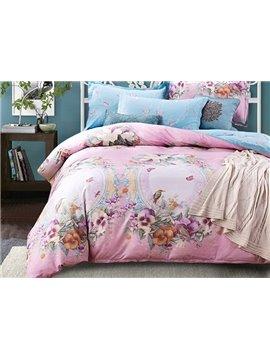 Retro Colorful Flowers and Birds Print 4-Piece Cotton Duvet Cover Sets