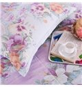 Retro Colorful Flowers and Birds Print 4-Piece Cotton Duvet Cover Sets