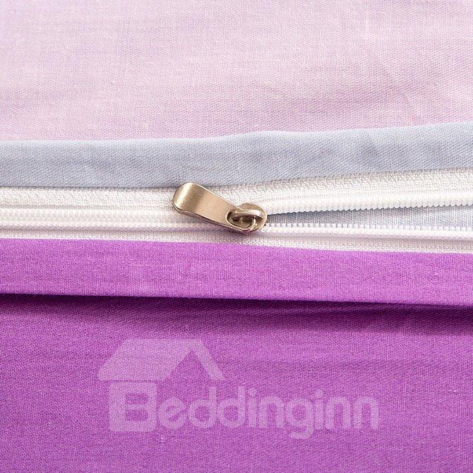 Unique Gradient Pink Color Pattern 4-Piece Cotton Duvet Cover Sets